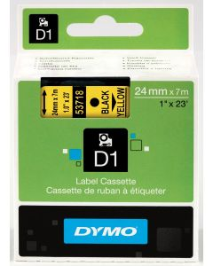 Dymo label D1, polyester, verwijderbaar, 24mm, zwart op geel S0720980