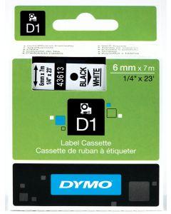 Dymo labe D1, polyester, verwijderbaar, 6mm, zwart op wit S0720780