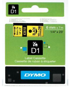 Dymo label D1, polyester, verwijderbaar, 6mm, zwart op geel S0720790
