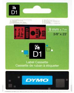 Dymo D1-tape, polyester, verwijderbaar, 9mm, zwart op rood S0720720