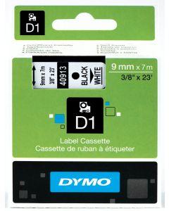Dymo label D1, polyester, verwijderbaar, 9mm, zwart op wit S0720680