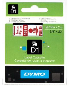 Dymo label D1, polyester, verwijderbaar, 9mm, rood op wit S0720700