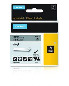 Dymo label Rhino gekleurd vinyl 12mm zwart op grijs 1805413