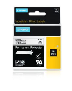 Dymo label Rhino permanent polyester 6mm zwart op wit 1805442