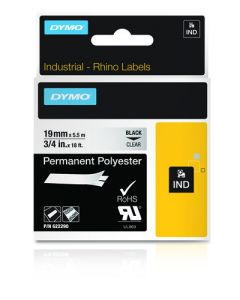 Dymo label Rhino permanent hechtende polyester 19mm zwart op transparant 622290