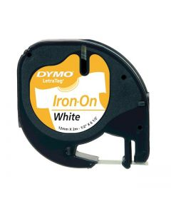 Dymo LetraTAG label opstrijkbaar 12mm zwart op wit S0718850