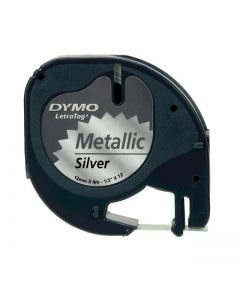 Dymo LetraTAG label metaalkleurig 12mm zwart op metallic S0721730