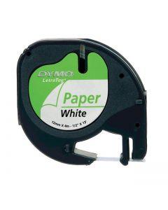 Dymo LetraTAG label papier 12mm zwart op wit S0721510