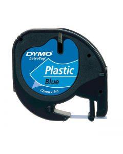 Dymo LetraTAG label plastic 12mm zwart op blauw S0721650