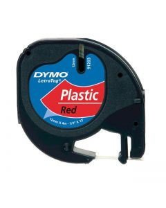 Dymo LetraTAG label plastic 12mm zwart op rood S0721630