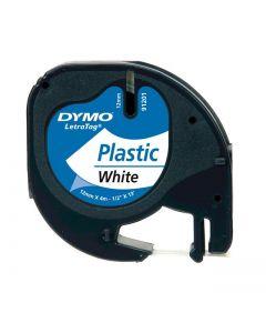 Dymo LetraTAG label plastic 12mm zwart op parelwit S0721610