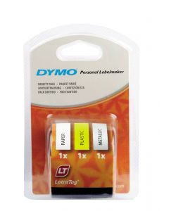 Dymo LetraTAG label startkit, 3 x 12 mm x 4 m, papier zwart op wit, plastic zwart op geel, metallic zwart op zilver S0721790