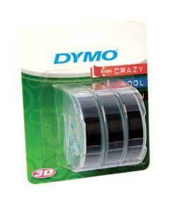 Dymo Blister met 3 reliefleflabels, 9 mm,  wit op zwart S0847730