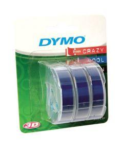 Dymo Blister met 3 reliefletlabels, 9 mm, wit op blauw S0847740