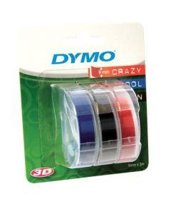 Dymo Blister met 3 label relief 9 mm, combi van wit op rood/zwart/blauw S0847750