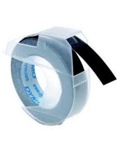 Dymo Relieflabels 9mm, wit op zwart S0898130