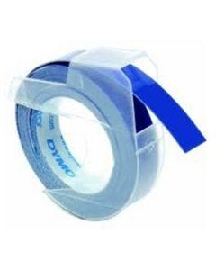 Dymo Relieflabel 9mm, wit op  blauw S0898140